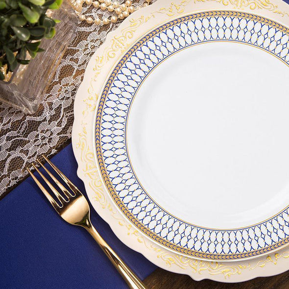 White with Blue and Gold Chord Rim Plastic Dinnerware Value Set