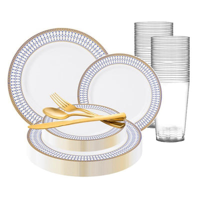 White with Blue and Gold Chord Rim Plastic Wedding Value Set