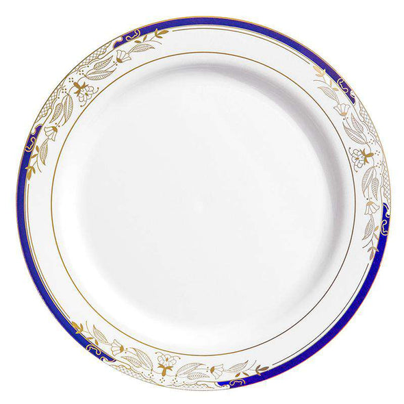"7.5"" White with Blue and Gold Harmony Rim Plastic Appetizer/Salad Plates"