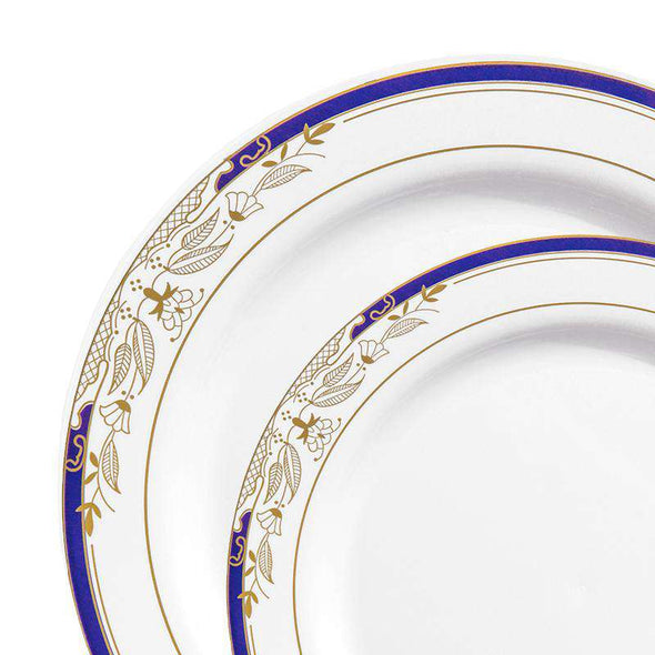White with Blue and Gold Harmony Rim Plastic Dinnerware Value Set