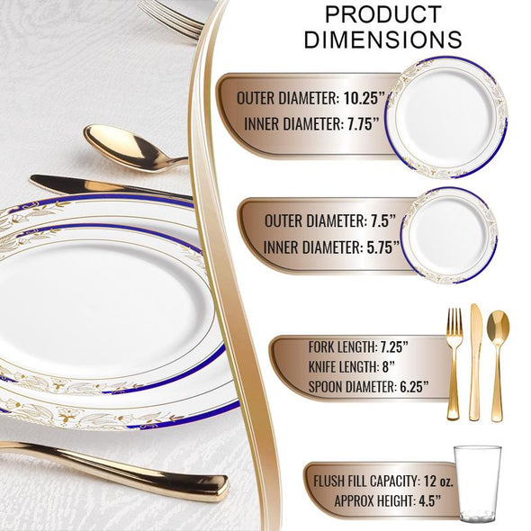 White with Blue and Gold Harmony Rim Plastic Wedding Value Set