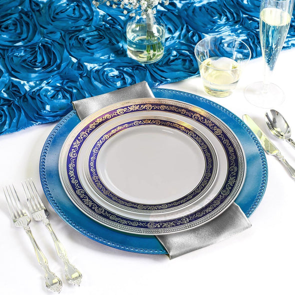 White with Blue and Silver Royal Rim Plastic Wedding Value Set