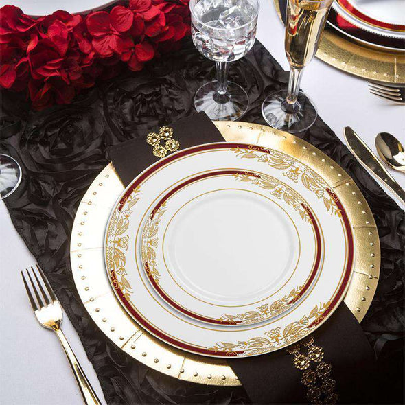 "10.25"" White with Burgundy and Gold Harmony Rim Plastic Dinner Plates"