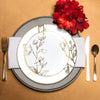 "10.25"" White with Gold Antique Floral Round Disposable Plastic Dinner Plates"