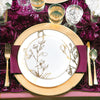White with Gold Antique Floral Round Disposable Plastic Dinnerware Value Set