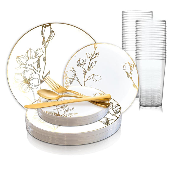 White with Gold Antique Floral Round Disposable Plastic Wedding Value Set