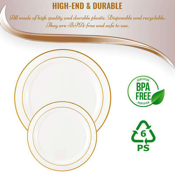 "7.5"" White with Gold Edge Rim Plastic Appetizer/Salad Plates"