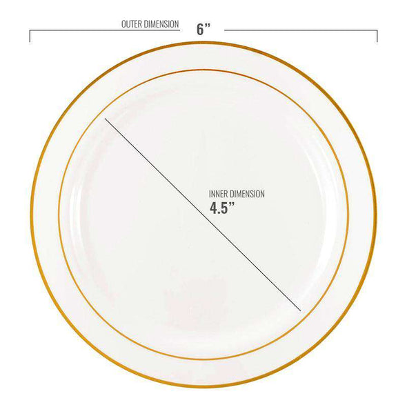 "6"" White with Gold Edge Rim Plastic Pastry Plates"