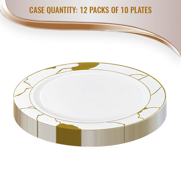 "7.5"" White with Gold Marble Disposable Plastic Appetizer/Salad Plates"