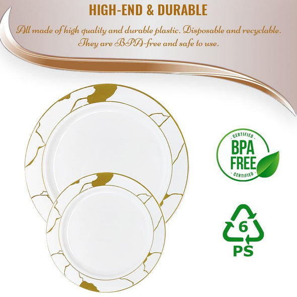 "10"" White with Gold Marble Disposable Plastic Dinner Plates"