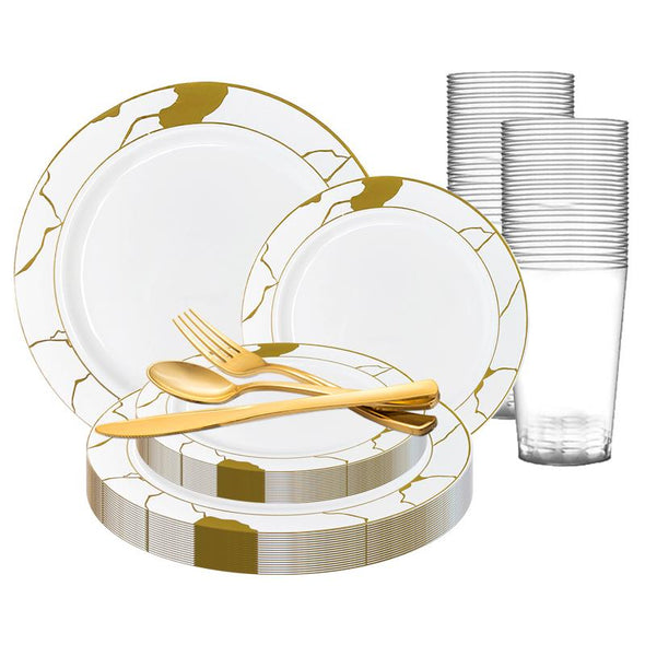 White with Gold Marble Disposable Plastic Wedding Value Set