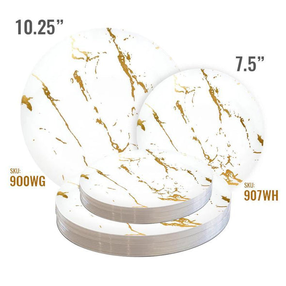 "7.5"" White with Gold Marble Stroke Round Disposable Plastic Appetizer/Salad Plates"