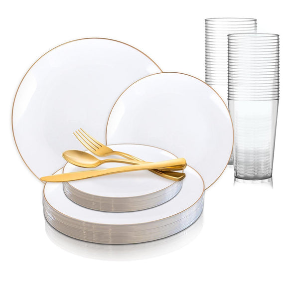 White with Gold Rim Organic Round Disposable Plastic Wedding Value Set