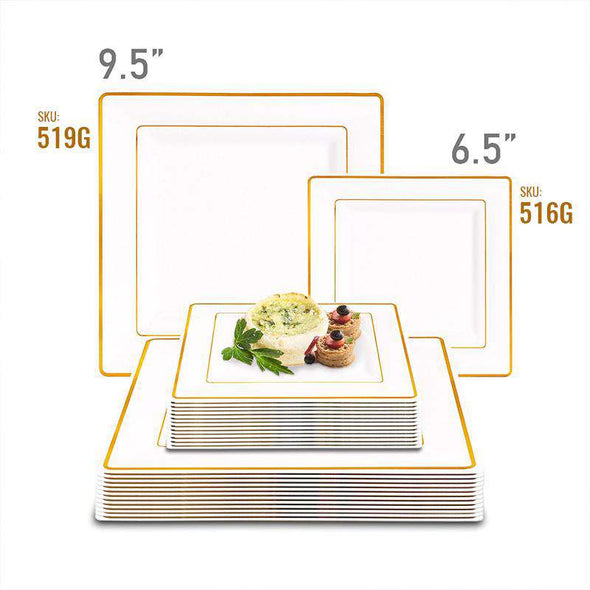 "9.5"" White with Gold Square Edge Rim Plastic Dinner Plates"