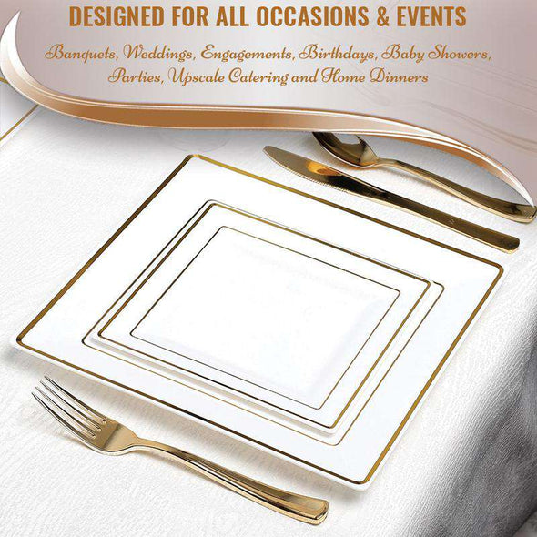 "6.5"" White with Gold Square Edge Rim Plastic Appetizer/Salad Plates"