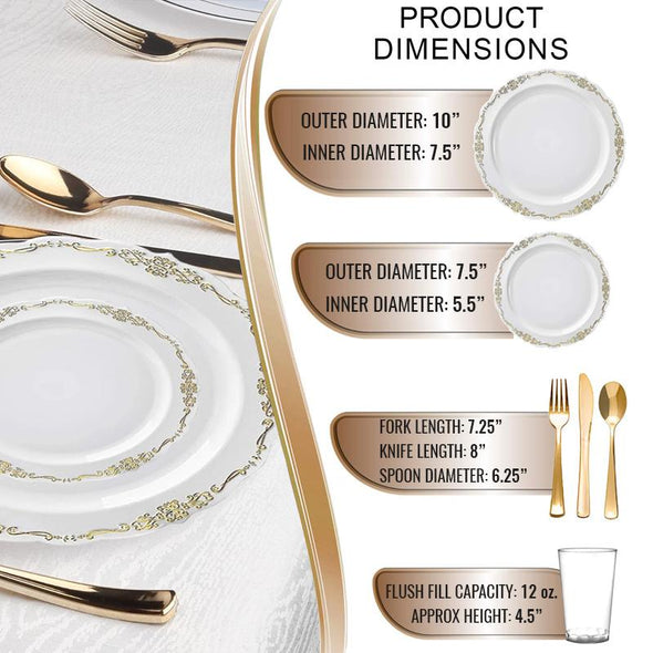 White with Gold Vintage Rim Round Disposable Plastic Wedding Value Set
