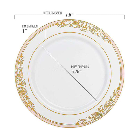 "7.5"" White with Pink and Gold Harmony Rim Plastic Appetizer/Salad Plates"