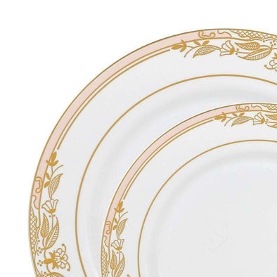 White with Pink and Gold Harmony Rim Plastic Dinnerware Value Set