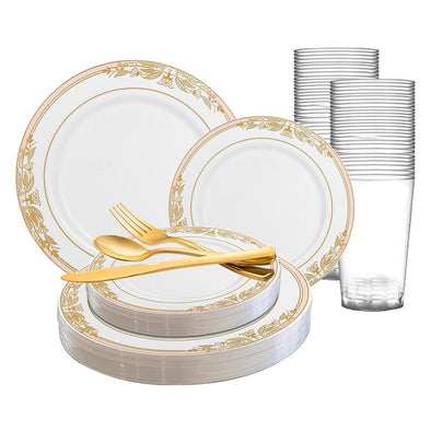 White with Pink and Gold Harmony Rim Plastic Wedding Value Set