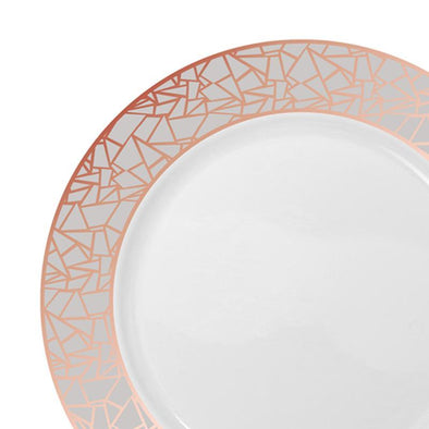"7.5"" White with Rose Gold and Silver Mosaic Rim Round Plastic Appetizer/Salad Plates"