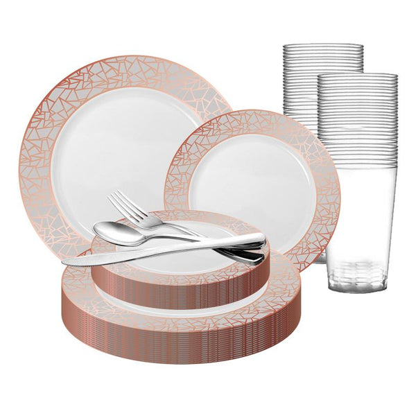 White with Rose Gold and Silver Mosaic Rim Round Plastic Wedding Value Set