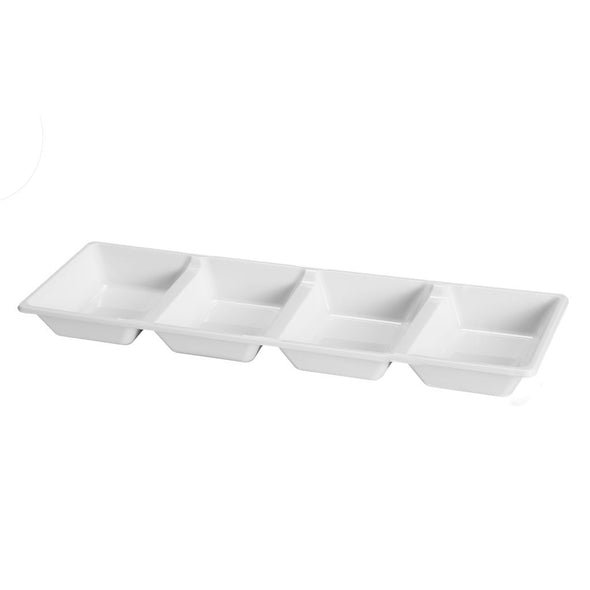 16 x 5 White 4-Section Rectangular Disposable Plastic Trays