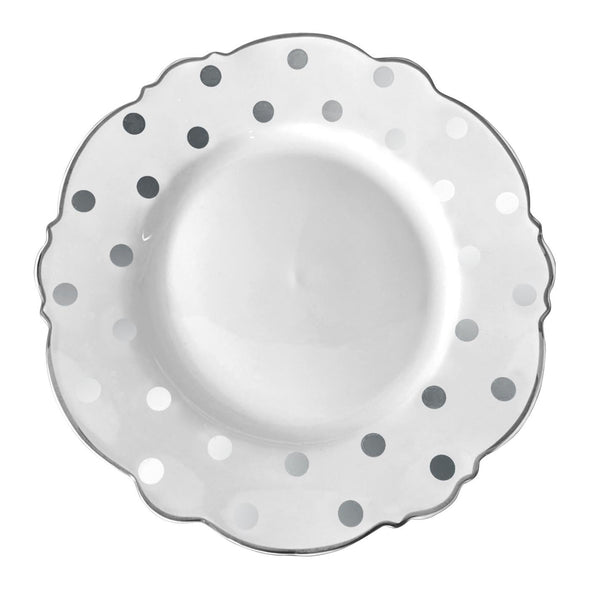"10.25"" White with Silver Dots Round Blossom Disposable Plastic Dinner Plates"