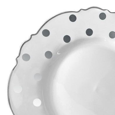 "7.5"" White with Silver Dots Round Blossom Disposable Plastic Salad Plates"