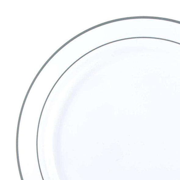 "7.5"" White with Silver Edge Rim Plastic Appetizer/Salad Plates"