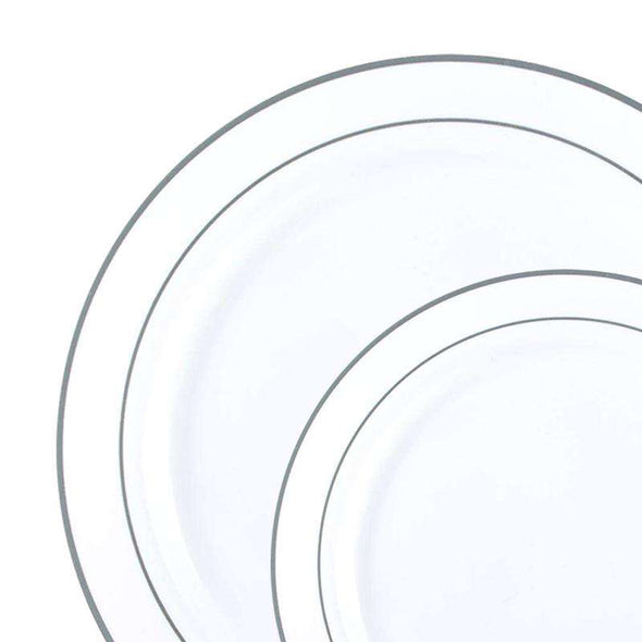 White with Silver Edge Rim Plastic Dinnerware Value Set