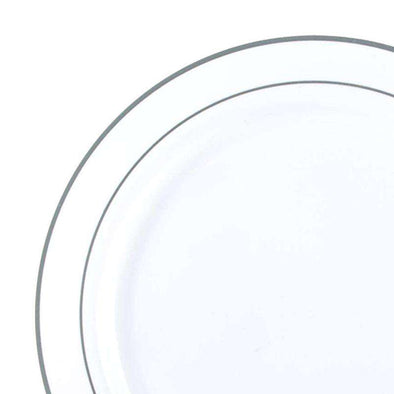 "6"" White with Silver Edge Rim Plastic Pastry Plates"
