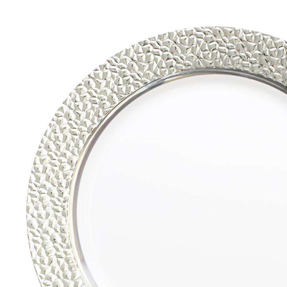 "10.25"" White with Silver Hammered Rim Round Plastic Dinner Plates"
