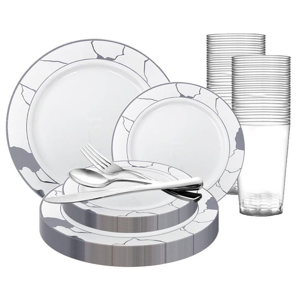 White with Silver Marble Disposable Plastic Wedding Value Set