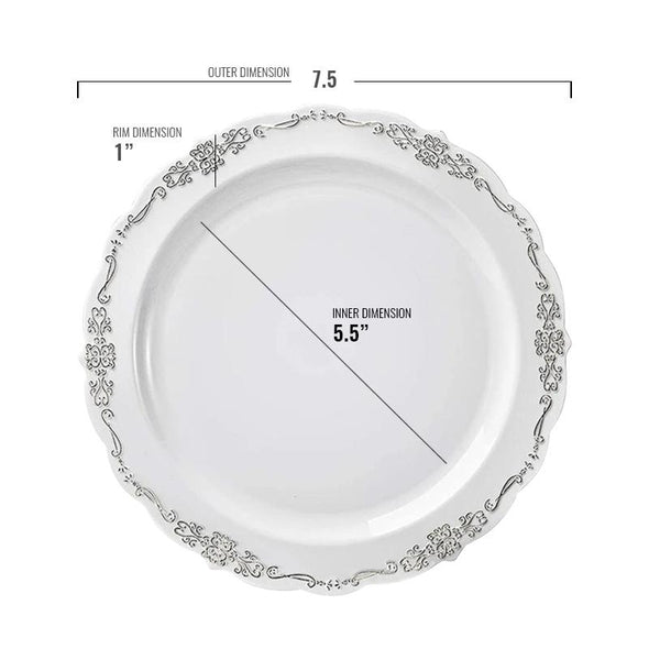 "7.5"" White with Silver Vintage Rim Round Disposable Plastic Appetizer/Salad Plates"