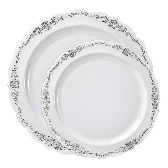 White with Silver Vintage Rim Round Disposable Plastic Dinnerware Value Set