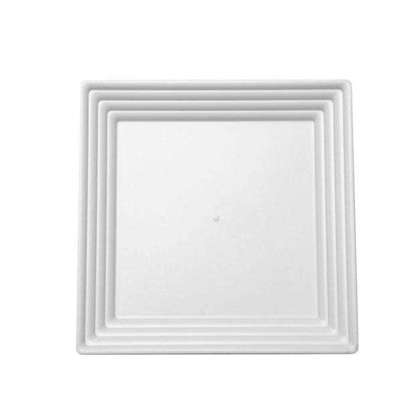 "12"" x 12"" White Square with Groove Rim Plastic Serving Trays"