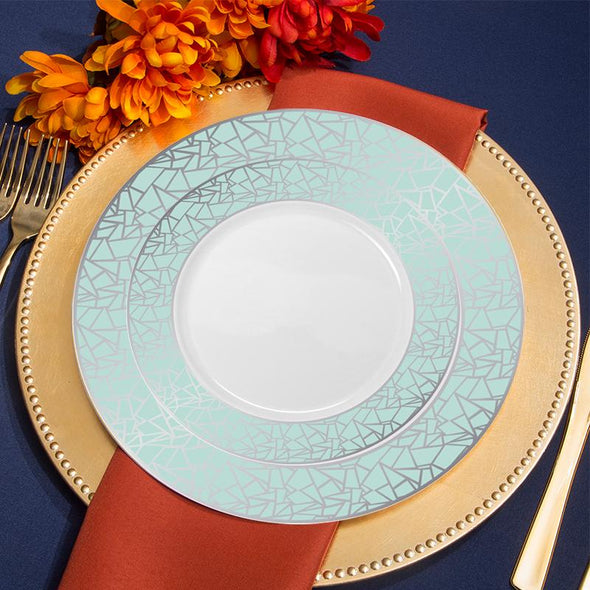 "Stylish 10.25"" White with Turquoise Blue and Silver Mosaic Rim Round Plastic Dinner Plates"