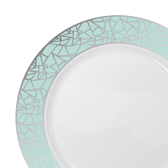 "10.25"" White with Turquoise Blue and Silver Mosaic Rim Round Plastic Dinner Plates"