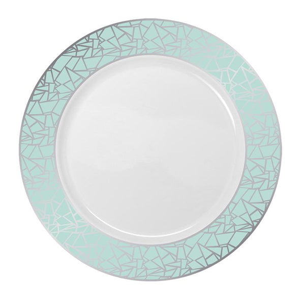 "Elegant 10.25"" White with Turquoise Blue and Silver Mosaic Rim Round Plastic Dinner Plates"