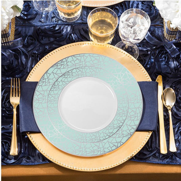 "Exquisite 10.25"" White with Turquoise Blue and Silver Mosaic Rim Round Plastic Dinner Plates"