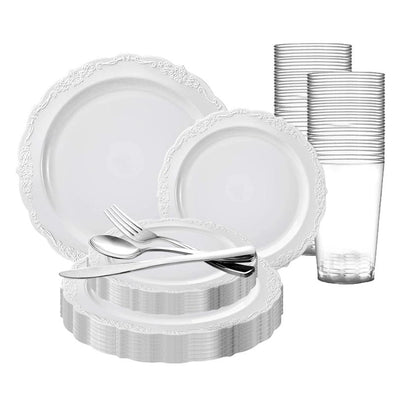 White Vintage Round Disposable Plastic Wedding Value Set