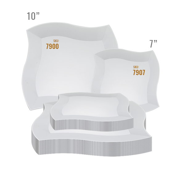 White Wave Plastic Dinnerware Value Set