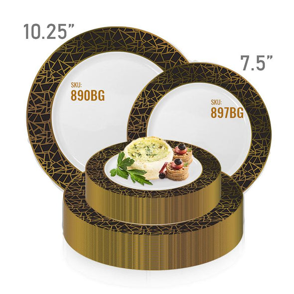 10.25 White with Black and Gold Mosaic Rim Round Plastic Dinner Plates