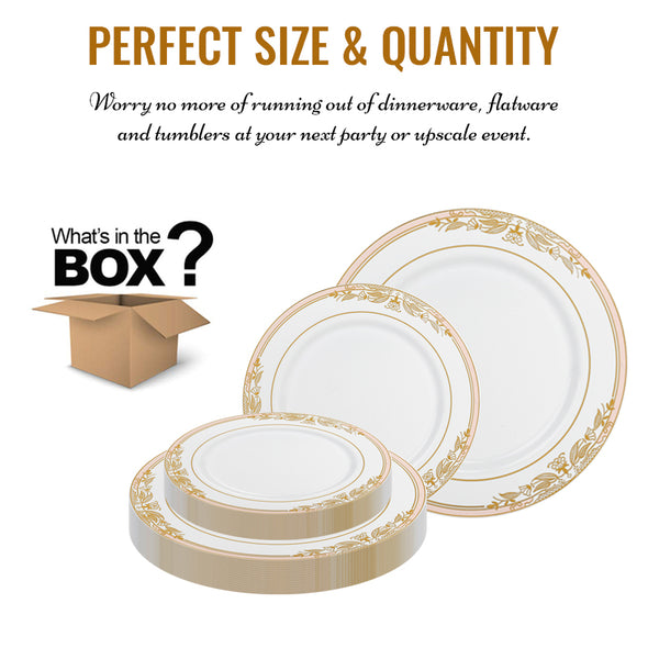 White with Pink and Gold Harmony Rim Plastic Dinnerware Value Set Quantity