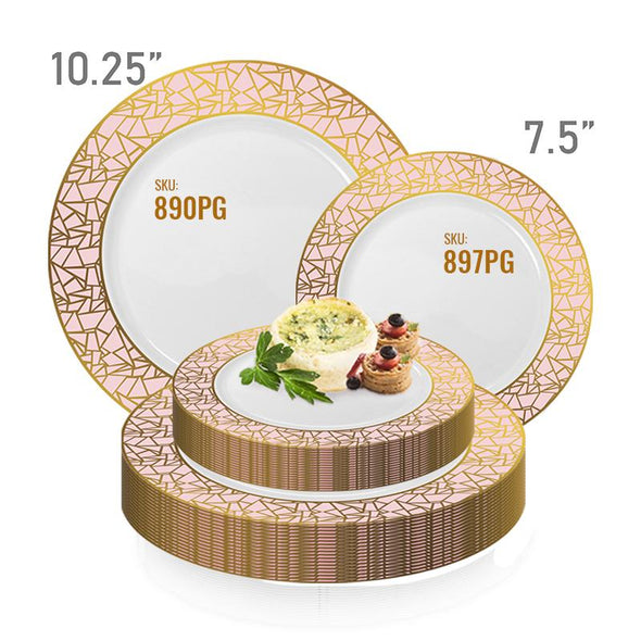 7.5 White with Pink and Gold Mosaic Rim Round Plastic AppetizerSalad Plates
