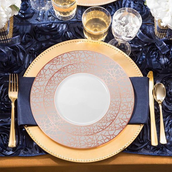 7.5 White with Rose Gold and Silver Mosaic Rim Round Plastic AppetizerSalad Plates