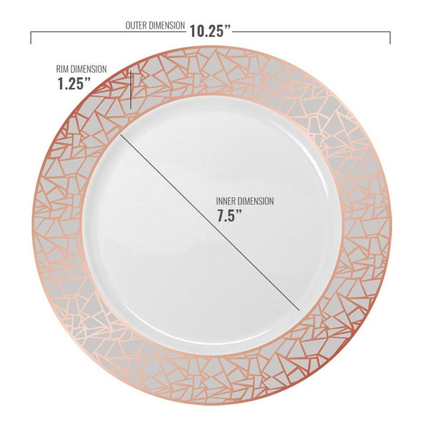 10.25 White with Rose Gold and Silver Mosaic Rim Round Plastic Dinner Plates