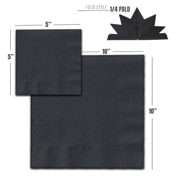 Black Cocktail Beverage Napkins