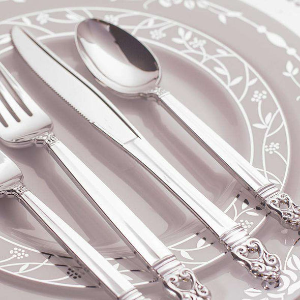 Danish Crown Metallic Silver Luxury Plastic Knives