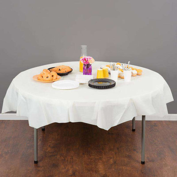Disposable White Octy Wedding Round Linen-Like Tablecloths